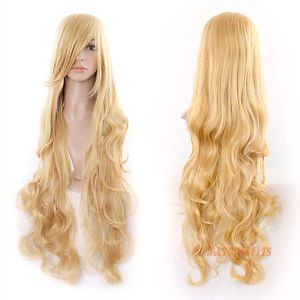 """32"""" Long Blonde Heat Resistant Spiral Curly Cosplay Party Hair Bangs Wigs 80cm"""