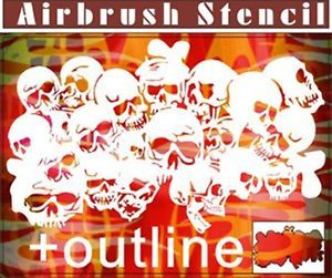 Skull Airbrush Stencil Template Pattern Wall Car Craft Paint New Party 010088B 9