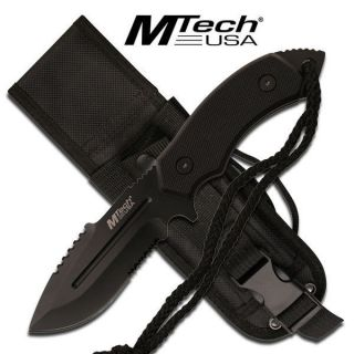 "MTech USA 8"" Fixed Tanto Blade w Sheath Included Black MT2018DBK"