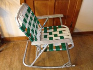 Surprising Vintage Aluminum Frame Folding Rocking Lawn Chair Green Gmtry Best Dining Table And Chair Ideas Images Gmtryco
