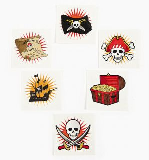 72 Pirate Tattoos Party Favors Treasure Chest Map Jolly Roger Skull SHIP