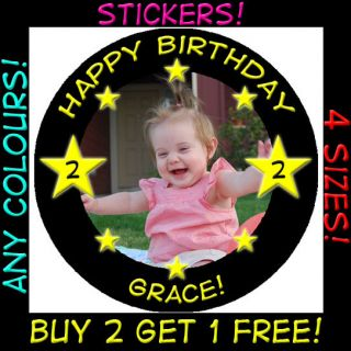 Personalised Childrens Stars Photo Birthday Stickers for Kids Party Christening