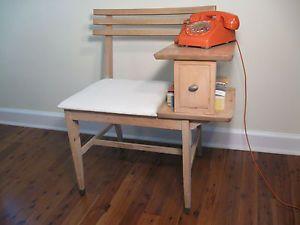 Mid Century Wood Telephone Gossip Bench Phone Table Chair Retro Eames Vtg