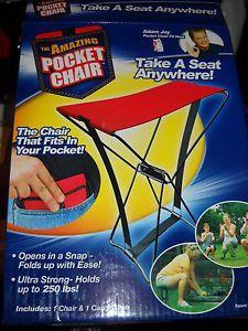 Pocket Chair as Seen on TV Folding Travel Walking Sports Games Garden Tailgate