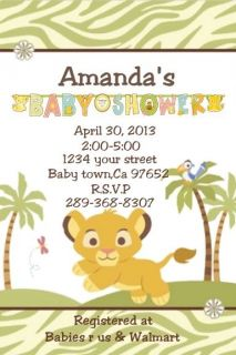 Baby Lion King Baby Simba Personalized Custom Baby Shower Invitation 1