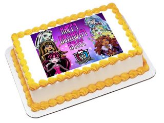N202 Edible Image Birthday Decoration 1 4 Sheet Cake Topper Monster High Dolls