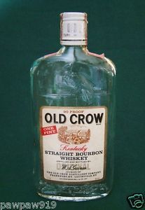 Old Crow Bourbon Whiskey Embossed Glass Bottle Empty Vintage Pint Circa 1971