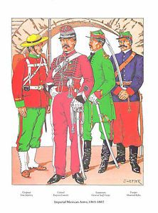 Bookplate Foreign Military Uniforms Imperial Mexican Army 1865 1867