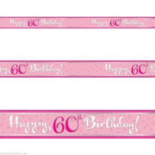 9ft Classic Pink Style Happy 60th Birthday Foil Banner Decoration