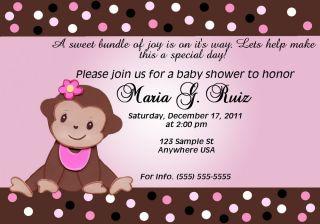 Girl monkey baby shower invitation personalized baby monkey baby shower girl invitation filmwisefo
