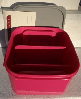 Tupperware Memory Mates Pink Shutter Box Photo Container Filing Recipe Pictures