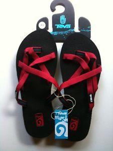 New Teva Mush Olowahu Womens Flip Flops Sandals Ruby Stitches Red 7