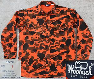 Vtg Woolrich Made in USA Safety Orange Camo Hunting Fishing Chamois Shirt L