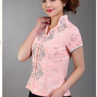 Black Pink Purple White Chinese Women's Tops Dress T Shirt Sz 8 10 12 14 16