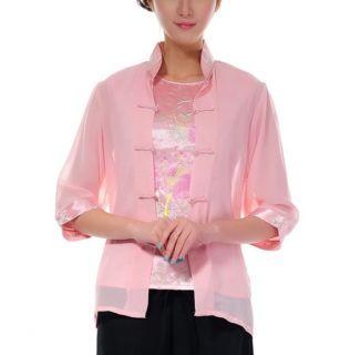 Pink White Chinese Women's Silk Shirt Top Blouse Twinset Sz M L XL XXL XXXL