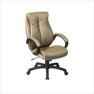Office Star Deluxe High Back Executive Coated Tan Leather Chair   EX6640 G11