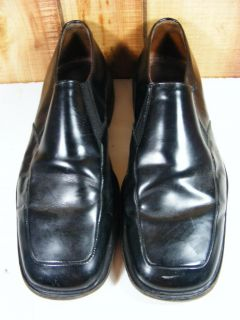 Bacco Bucci Black Leather Loafers Italy Men's 10 Dress Square Toe Shoes