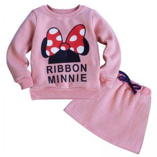 Minnie Mouse 2pcs Girls Kids Outfit Bowknot Warm Top Sweatshirt Skirt Dress 2T 6