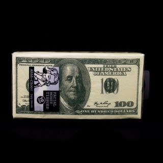 10 Pack $100 Dollar Bill Napkins Facial Tissue Benjamins Gag Gift Fake Money Fun