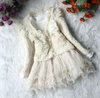 2pcs Baby Girls Flower Top Coat Dress Tutu Skirt Pageant Outfit Set Suit Clothes