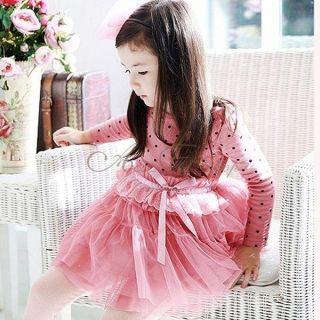 Girl Kid Polka Dots Long Sleeve Party Tulle Dress High Waist Lace Bowknot Sz 3 7
