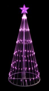 4' Pink LED Light Show Cone Christmas Tree Lighted Yard Art Decoration