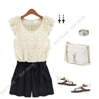 Women White Sleeveless Lace Jumpsuit Dress Belted Rompers Chiffon Shorts NY09