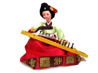 Hyundai Hmall Korean Traditional Dress HANBOK Doll Gayageum Korean Harp