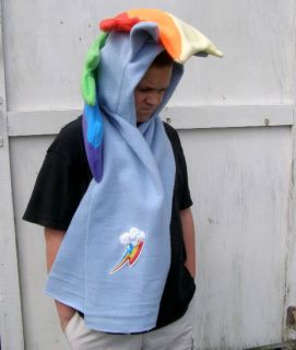 My Little Pony Custom Plush Hoodie Scarf Meme Rainbow Dash Hat Hood MLP FIM