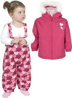 Girls Trespass Pink Ski Jacket Salopettes Pants Snow Suit Set 6 12 Months