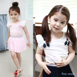 2 Pcs Kids Princess Girls Ruffled Tops Pleated Skirt Outfits Set Clothes 1 6Y