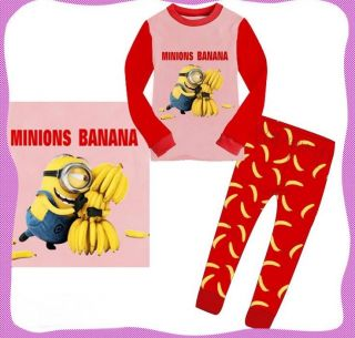 "Minions Despicable Me Girls Kids Boys Sleepwear""Minions Banana"" Pajamas Set Gift"