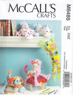 M6485 McCall's Crafts Stuffed Toys Hippo Cat Dog Horse Frog Pattern Free US SHIP