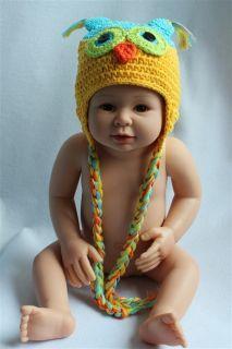 Cute Handmade Baby Child Sky Blue Owls Knit Hat Photograph Newborn to 3 Year New