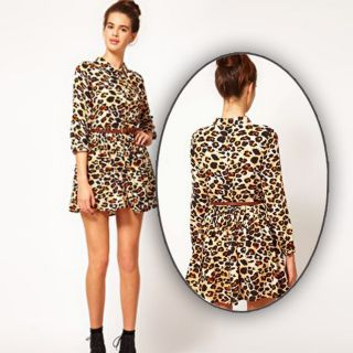 New Womens European Fashion Wild Sexy Leopard Print Long Sleeve Belt Dress B1054
