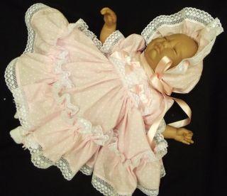 "Dream Newborn Baby Girl Dress Bonnet Clothes 17 19"" Reborn Doll"