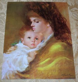 14X11 Mothers Love Winde Print Gentilini Spanish Lady Mom Baby Litho
