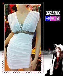Women Lady Sexy Deep V Neck Sequin Glitter Empire Waist Sleeveless Party Dress