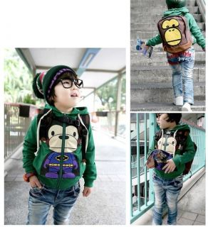 New Baby Toddler Kids Boys Zippered Hoodie Sweatshirt Jacket Monkey Size 4T 6 16