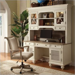 Riverside Furniture Coventry Shutter Door Credenza in Weathered Driftwood and Dover White   32533