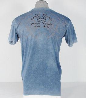 Xtreme Couture Para Bellum Vintage Tattoo Blue Tee T Shirt Mens Large L