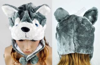 Cartoon Husky Animals Cute Plush Fancy Dress Fluffy Costume Hat Easy Pull on Top