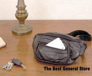 Large Black Lambskin Leather Fanny Pack Belt Waist Bag