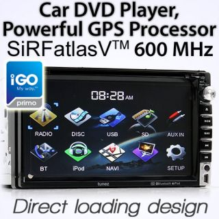 "7"" Car CD DVD  Player GPS in Dash Double DIN Head Unit Stereo Radio iGo Primo"