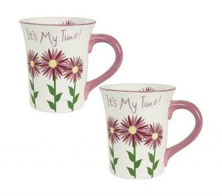 """It's My Time"" s 2 Hand Painted Mugs Valerie Parr Hill"