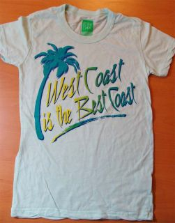 The West Coast Is The Best Coast Pale Blue Tee Shirt Size Large Junior New