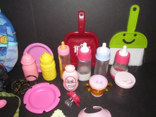 Lot Taking Care of Baby Doll Accessories Bottles Bath Food Baby Alive Fisher