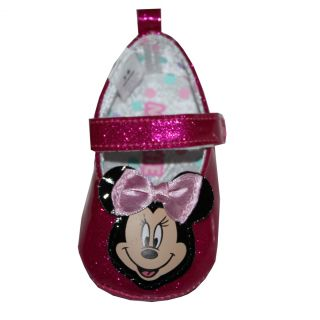 Disney Minnie Mouse Baby Slippers Crib Shoes Mary Jane 3 6 Months