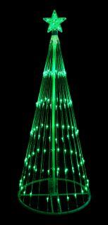 9' Green LED Light Show Cone Christmas Tree Lighted Yard Art Decoration