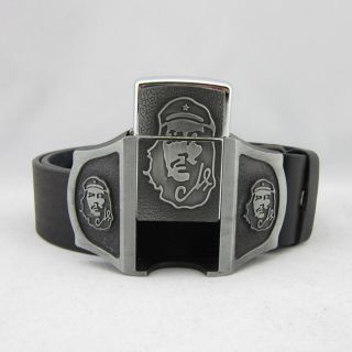 Vintage Punk Che Guevara Rechargable Lighter Mens Metal Belt Buckle Leather Belt